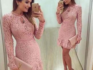 vestido rosa de renda