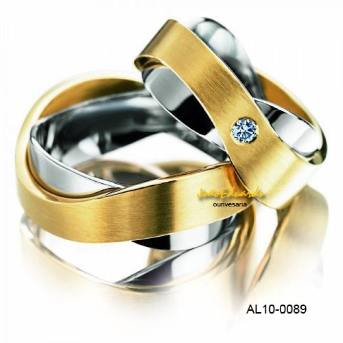 alianças de casamento em ouro amarelo e branco 9