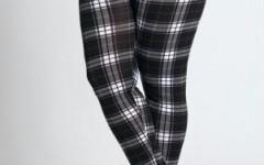 Calças Legging Xadrez, Moda Feminina