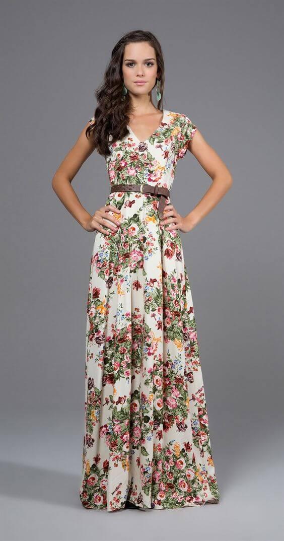 vestidos longos da moda evangélica floral