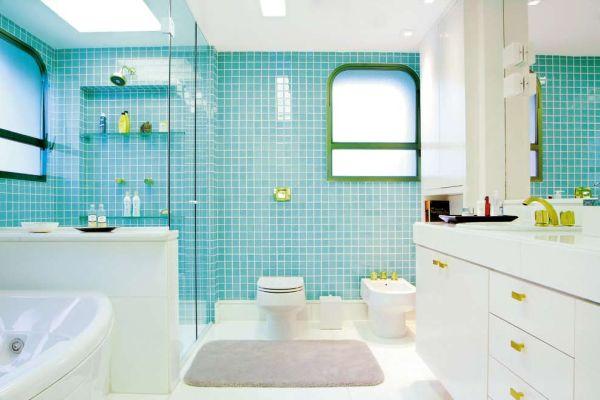 Decoração de Banheiro com Pastilhas, Ótima opção para seu Banheiro  Ideias M -> Pia Para Banheiro Azul
