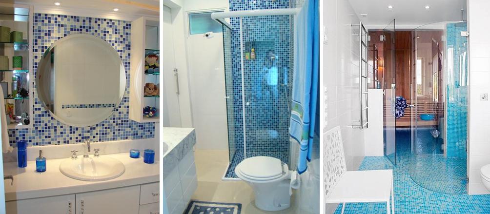 Decoração de Banheiro com Pastilhas, Ótima opção para seu Banheiro  Ideias Mix -> Decorar Banheiro Azul