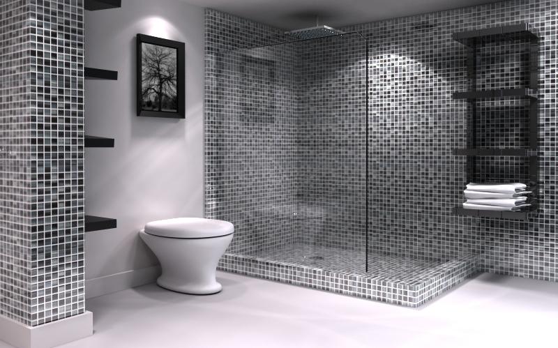 lavabo decoracao barata:Black and White Bathroom Tile Design