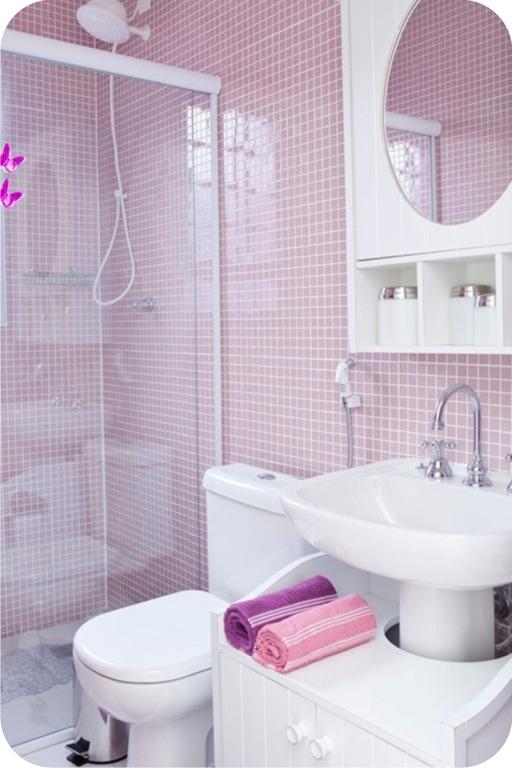 Decoração de Banheiro com Pastilhas, Ótima opção para seu Banheiro  Ideias M -> Decoracao De Banheiro Com Cuba De Vidro