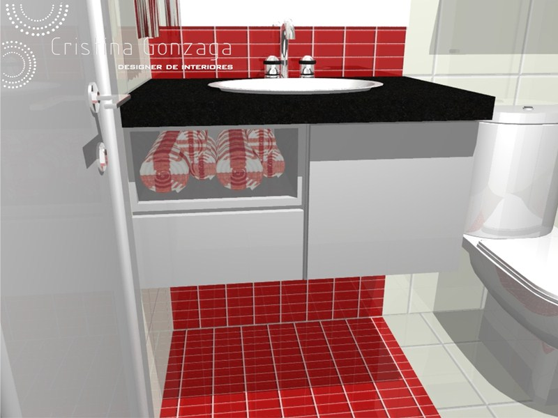 Decoração de Banheiro com Pastilhas, Ótima opção para seu Banheiro  Ideias Mix -> Banheiro Branco Com Pastilhas Vermelhas