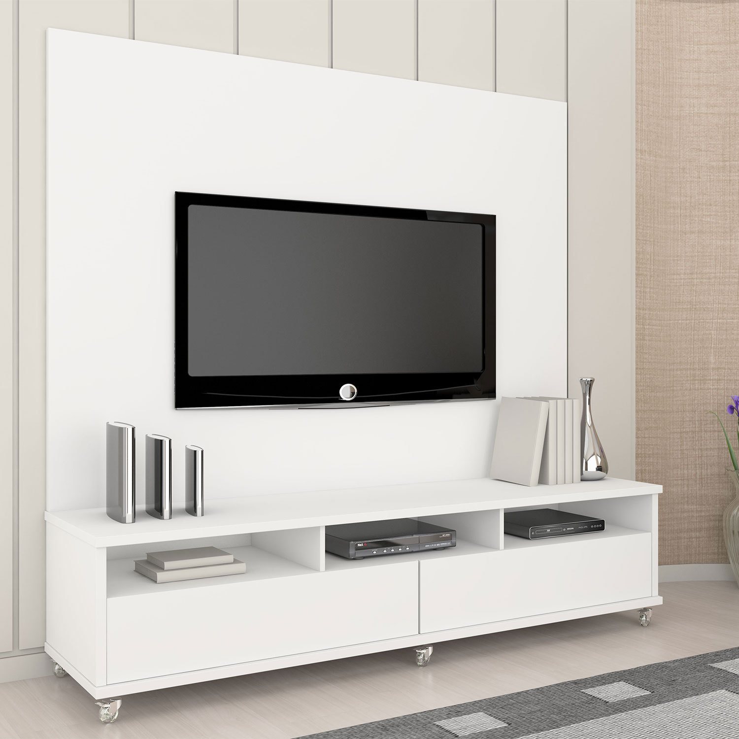 rack para sala de tv diversos modelos em fotos ideias mix. Black Bedroom Furniture Sets. Home Design Ideas