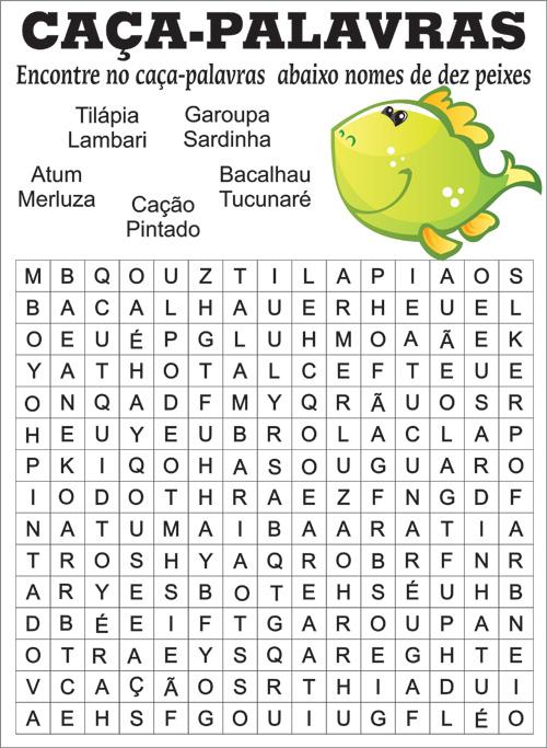 Caca Palavras Para Imprimir Nomes De Peixes Ideias Mix