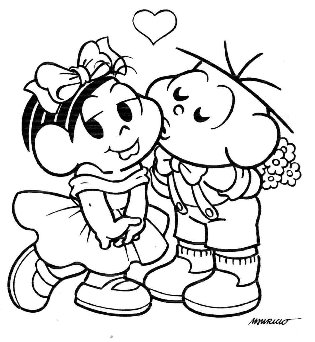 desenhos da turma da m nica para colorir para o dia dos namorados