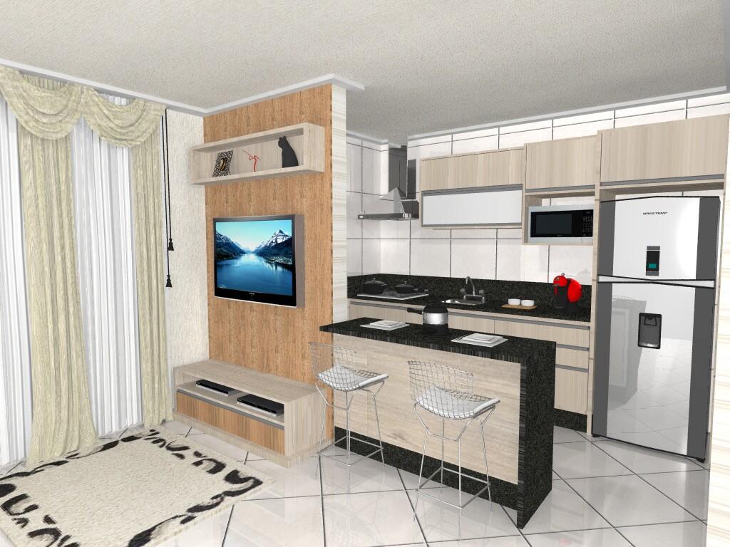 Confira Um Projeto De Cozinha Com à ¡rea De Servià §o Que  #2B8EA0 1024 768