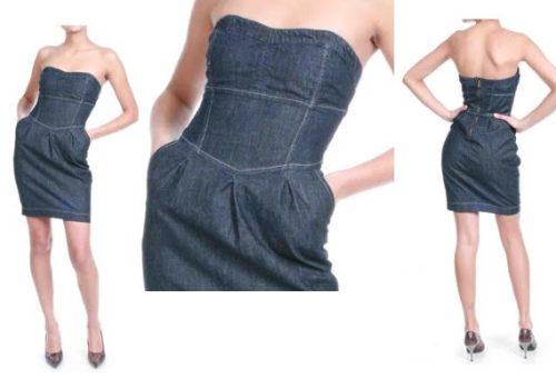 Vestido jeans curto tomara caia