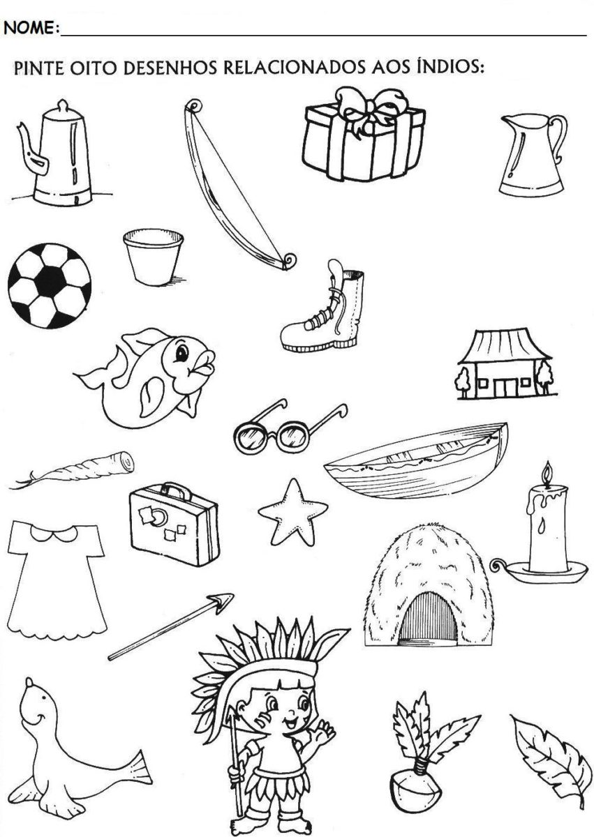 Atividades Para Dia Do Indio Para Pintar Ideias Mix