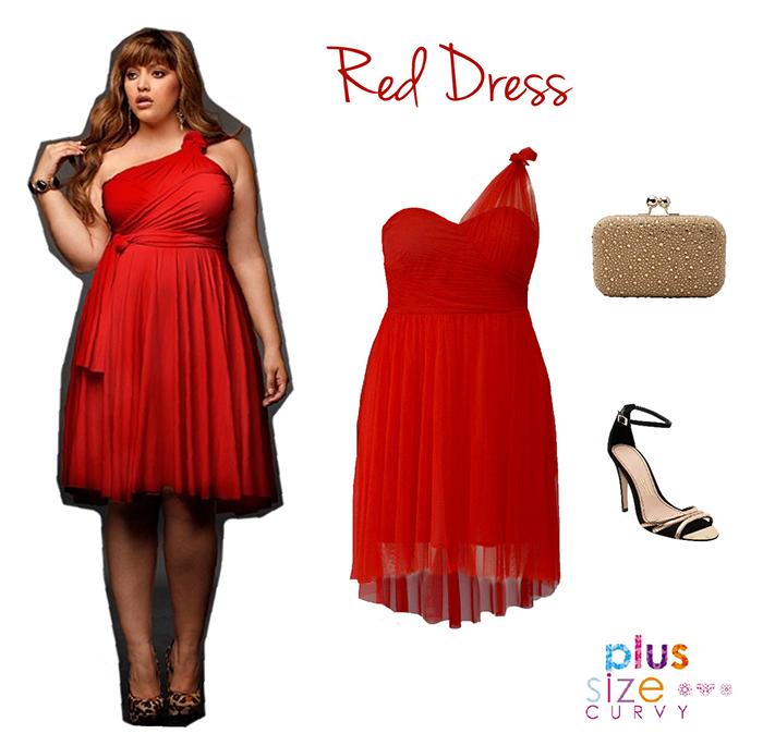 vestidos plus size vermelho de um ombro só