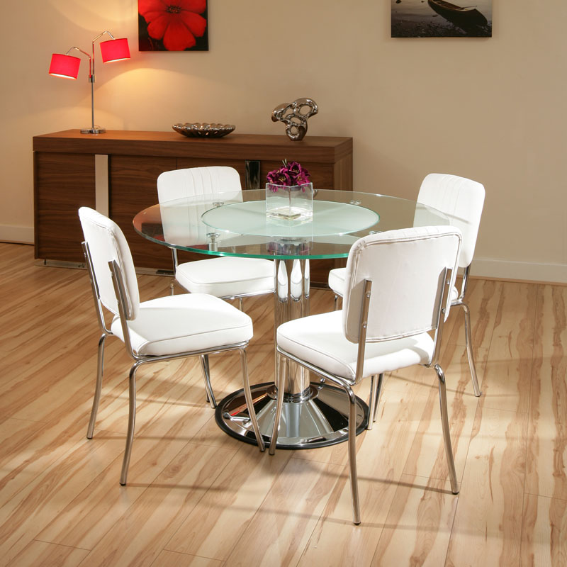 Modernas mesas de vidro para sala de jantar ideias mix - Mesas redondas pequenas ...