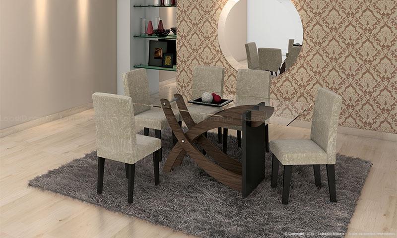 Sala De Jantar Mesa Com Vidro ~ Modernas Mesas de Vidro para Sala de Jantar  Ideias Mix