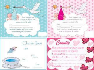 sugestões de convites para chá de bebê para imprimir