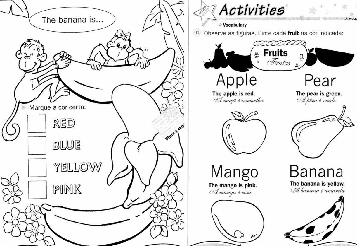 Muitas vezes Desenhos para Colorir com Cores em Inglês Para Imprimir   Ideias Mix NR33