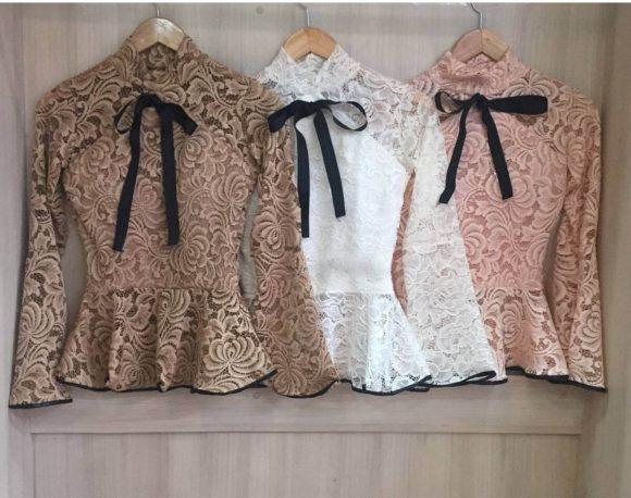 modelos de blusas de renda peplum para mulheres   estilo ideias