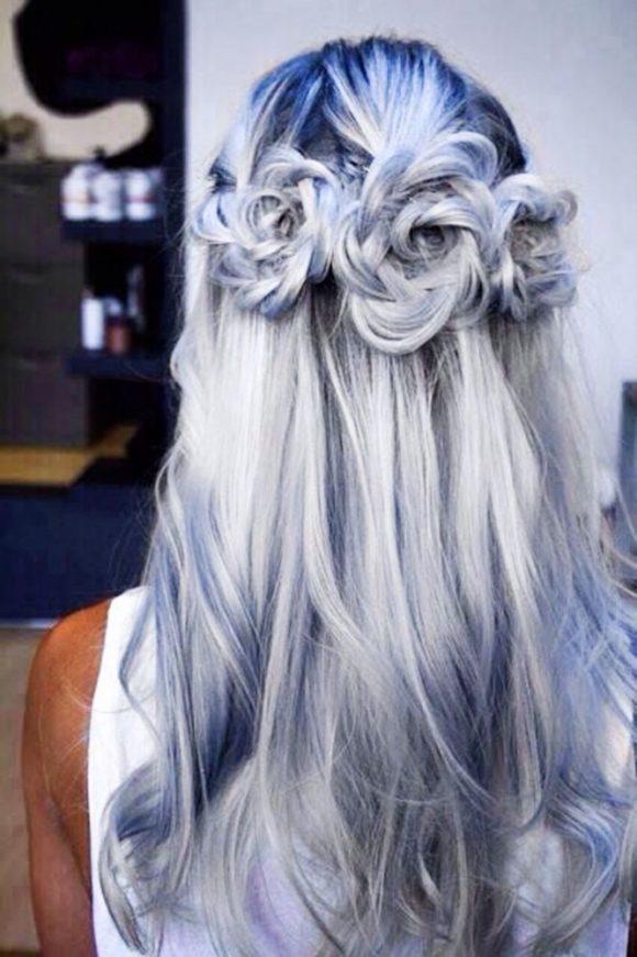 penteado com tranças em forma de flor