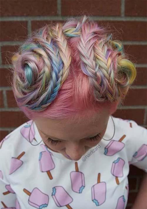 penteado cores de algodão doce trançado