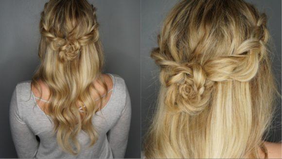 penteado flor com trança holandesa