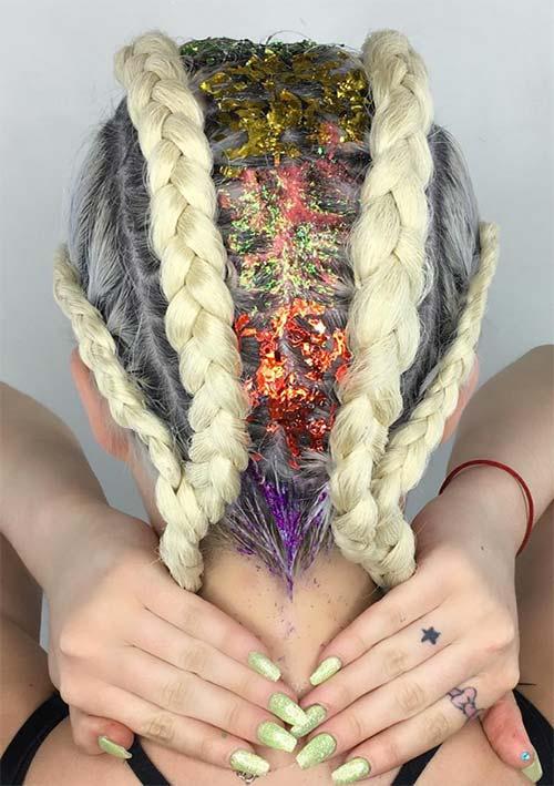 penteado trançado com glitter