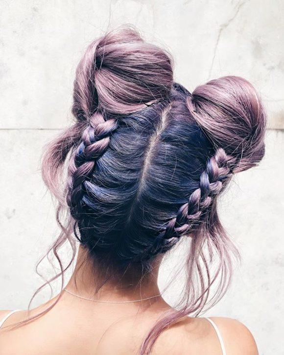 penteados trançados space buns